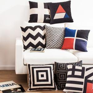 (EU Lager)Kissenhülle Leinen Geometrisch Design Schwarz Weiß Rot