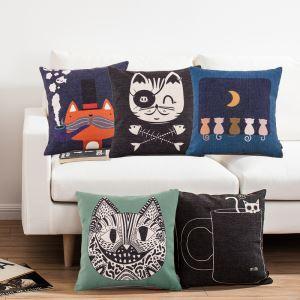 (EU Lager)Kissenhülle Leinen Modern Katze Muster
