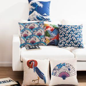 (EU Lager)Kissenhülle Leinen Fujisan Kranich Kirschblüte Design