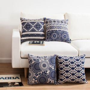 (EU Lager)Kissenhülle Leinen Klassisch Blau Weiß Design