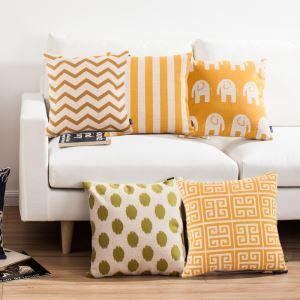 (EU Lager)Kissenhülle Leinen Mittelmeer Stil Gelbe Muster