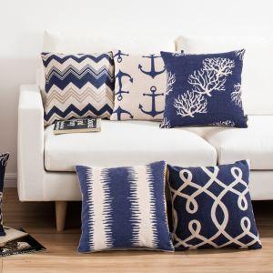 (EU Lager)Kissenhülle Leinen Mittelmeer Stil Blaue Muster