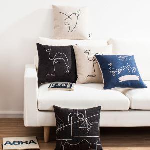 (EU Lager) Kissenhülle Leinen Modern Picasso Skizze