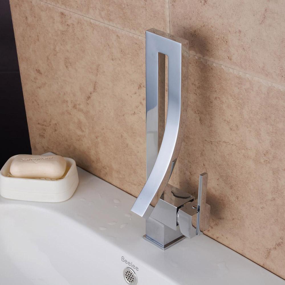 Ausverkauft - (EU Lager)Waschtischarmatur Modern Einhandmischer Silber