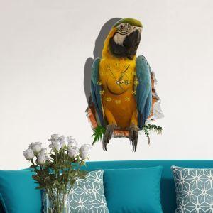 (EU Lager)3D Wanduhr Modern Papagei Design Lautlos