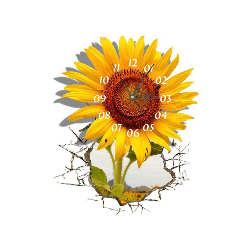 Ausverkauft eu lager 3d wanduhr modern sonnenblume design lautlos - Wanduhr sunflower ...
