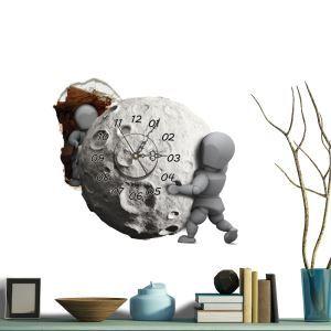(EU Lager)3D Wanduhr Modern Meteorit Design Lautlos