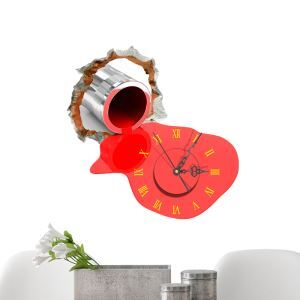 (EU Lager)3D Wanduhr Modern Rot Malerei Design Lautlos