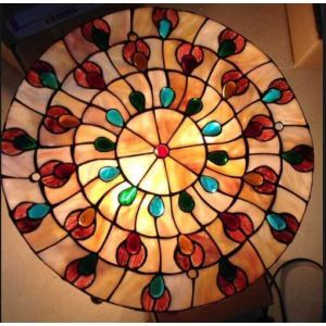 (EU Lager)3 flammige Tiffany Deckenleuchte - bunte Kristall dekoriert