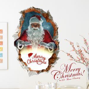 (EU Lager)3D Wandtattoo Weihnachten Weihnachtsmann