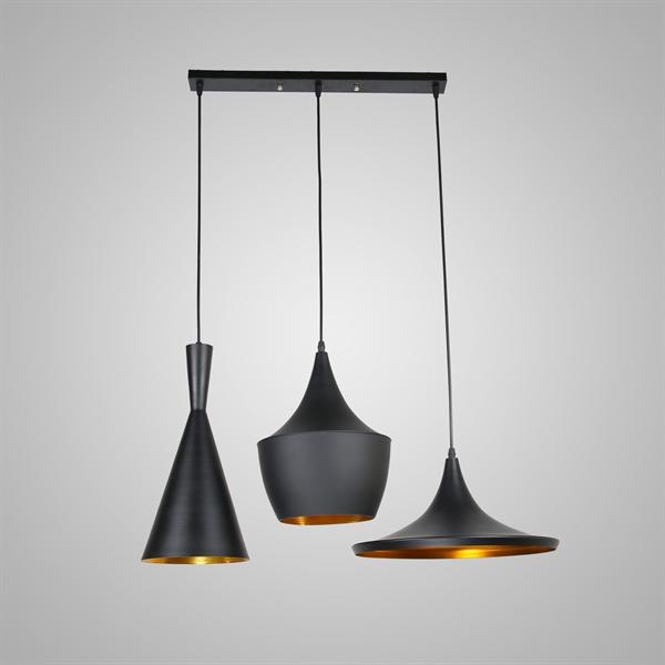 in stock pendelleuchte modern minimalistisch eisen aluminium 3 flammig schwarz. Black Bedroom Furniture Sets. Home Design Ideas