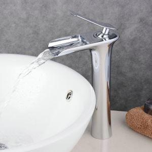 (EU Lager)Waschtischarmatur Modern Wasserfall Messing Chrom