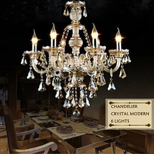 (EU Lager)Moderner Kronleuchter Kristall Beige 6-flammig