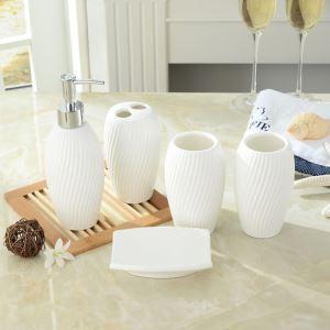 (EU Lager)Moderne Bad-Accessoire-Set 5-teilig, Keramik Weiß