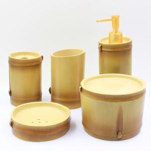 (EU Lager)Modern Bad-Accessoire-Set 5-teilig Bambus Design aus Resin