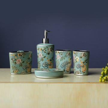 eu lagerlandhaus design bad accessoire set 5 teilig aus keramik