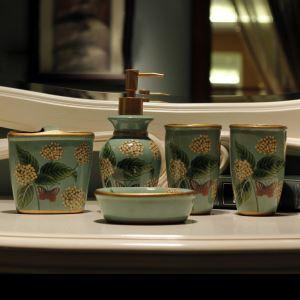 (EU Lager)Landhaus Bad-Accessoire-Set 5-teilig Hortensien Design aus Keramik