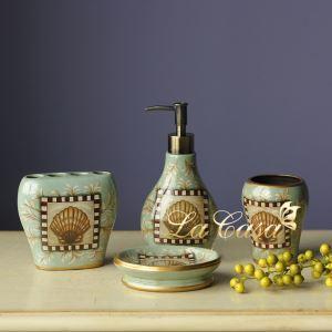 (EU Lager)Landhaus Badset 4-teilig Muschel Design aus Keramik