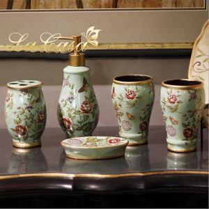 eu lagerlandhaus bad accessoire set 5 teilig aus keramik