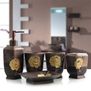 Design Bad-Accessoire-Set 5-teilig aus Resin