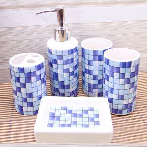 (EU Lager)Bad-Accessoire-Set 5-teilig Mosaik Design aus Keramik
