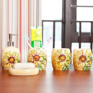 eu lagerlandhaus bad accessoire set 5 teilig sonnenblume design aus