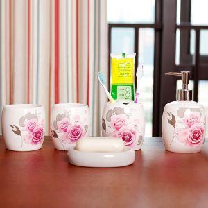 (EU Lager)Landhaus Bad-Accessoire-Set 5-teilig Rose Design aus Keramik