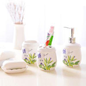 (EU Lager)Landhaus Badset 4-teilig Lavendel Design aus Keramik