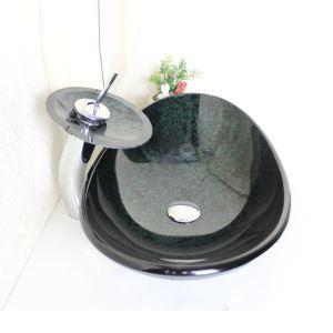 (EU Lager) Modern Waschbecken Set Glas Oval mit Wasserfall Wasserhahn