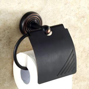 (EU Lager)Papierrollenhalter mit Deckel Antik Messing Bad Accessoires Schwarz