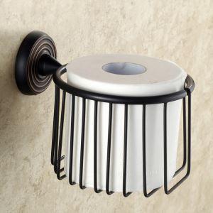 (EU Lager)Toilettenpapierhalter Antik Messing Bad Accessoires Schwarz