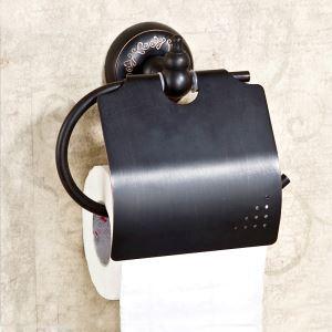 (EU Lager)WC Papierhalter Antik Messing Bad Accessoires Schwarz