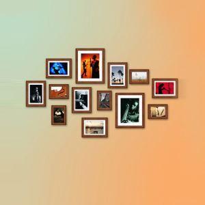 (EU Lager)Galerie Bilderrahmen Set Mediterraner Stil aus Holz-13er Set