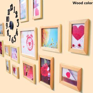 (EU Lager)Bilderrahmen Collage Landhaus Stil aus Holz-15er Set