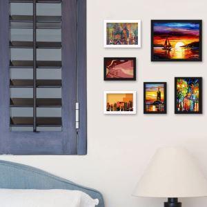 (EU Lager)Bilderrahmen Collage Landhaus Stil aus Holz-6er Set