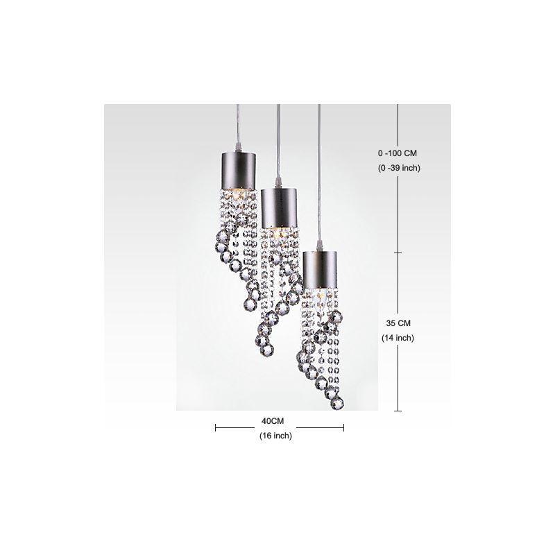 Modern Pendelleuchte Kristall 3-flammig Im Schlafzimmer
