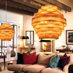 (EU Lager)Pendelleuchte Holz Landhaus Stil Welle Design