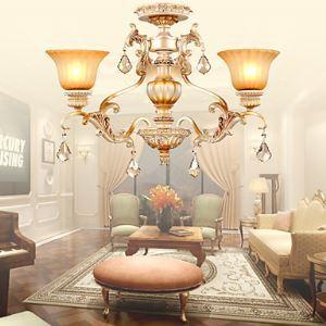 (EU Lager)Kristall Kronleuchter Landhaus im Wohnzimmer