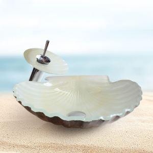 (EU Lager)Modern Glas Waschbecken Muscheln Design mit Wasserfall Wasserhahn