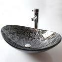 Glas Waschbecken Modern Blatt Design ohne Wasserhahn