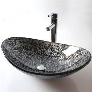 (EU Lager)Glas Waschbecken Modern Blatt Design ohne Wasserhahn