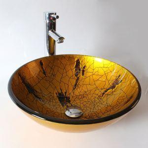 (EU Lager)Design Glas Waschbecken Rund ohne Wasserhahn