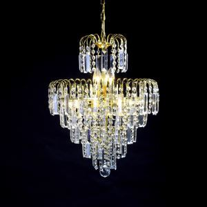(EU Lager)Prachtvoller Kronleuchter Lüster Kristall 6-flammig