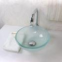 Glas Waschbecken Modern Milchglas Für Gäste Bad Rund ohne Wasserhahn