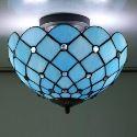 Retro Deckenleuchte im Mediterranen Stil aus Glas Blau 2-Flammig
