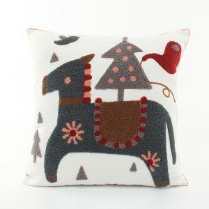 (EU Lager)Weihnachten Kissenhülle aus Leinen Stickerei Hirsch Design