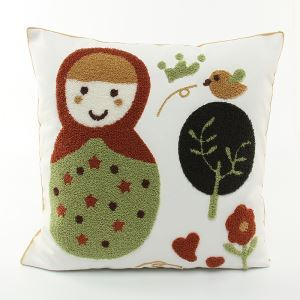 (EU Lager)Weihnachten Kissenhülle aus Leinen Stickerei Matroschka Design