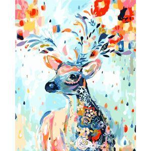 (EU Lager)Malen nach Zahlen Bunter Hirsch DIY Handgemaltes Digital Ölgemälde 40*50 cm
