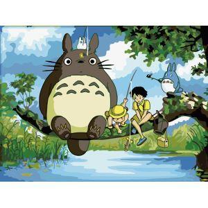 (EU Lager)Malen nach Zahlen Cartoon Mein Nachbar Totoro DIY Handgemaltes Digital Ölgemälde 30*40 cm