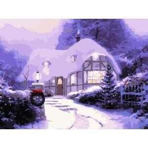 (EU Lager)Malen nach Zahlen Weihnachten Winter Haus DIY Handgemaltes Digital Ölgemälde 30*40 cm
